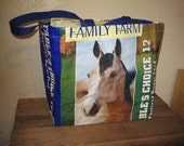 Recycled / Upcycled Reusable Horse Feed Large Tote Bag Purse - Free shipping to USA
