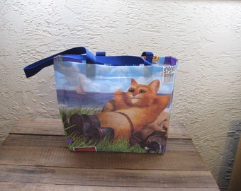 Recycled Upcycled Reusable Medium Cat Food Market Tote Bag Purse