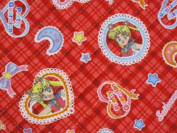 Reserved Listing for Beki Japanese Kawaii Animation Quilted Fabric - Sailor Moon - Red Bias Check