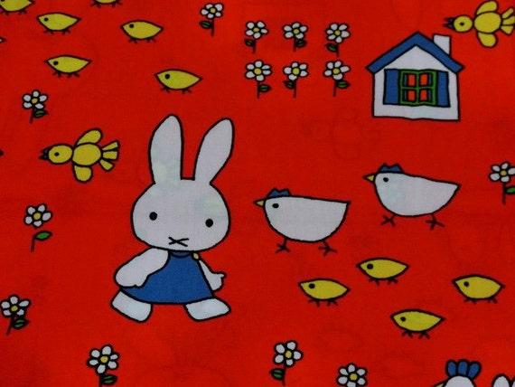 Vintage Miffy fabric - 1970s - Dick Bruna -Miffy's family - Last