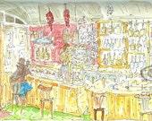 original watercolour xx Bar in Barcelona xx