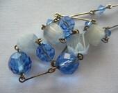 SALE Vintage Sky Blue Faceted & Venetian Glass Bead Necklace