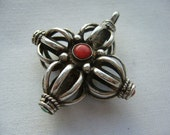 Vintage Tibetan Silver Red Coral & Turquoise Pendant