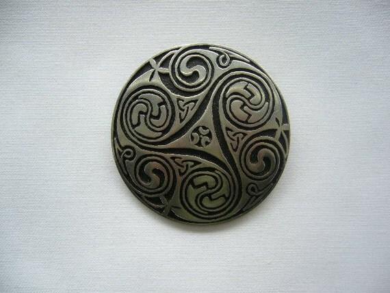 SALE Huge Vintage Celtic Pewter Brooch