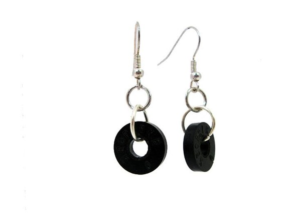 Wash Behind Your Ears (Upcycled Black Washer Earrings)