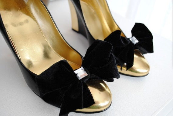 B. Poetic Little Black Velvet Sparkle Bow Shoe Clips