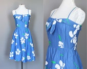 Dress Vintage Summer Hawaiian Floral Print Cotton Pin Up Rockabilly Garden Party Dress in Blue White and Green S M