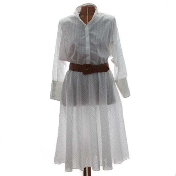 SALE Vintage Dress 80s 1908s White Shirtwaist M L
