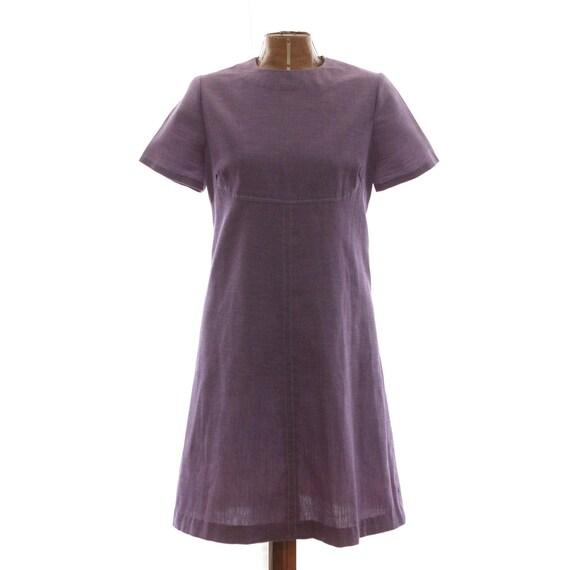 Dress Mod Vintage 60s 1960s Purple Day Dress M L