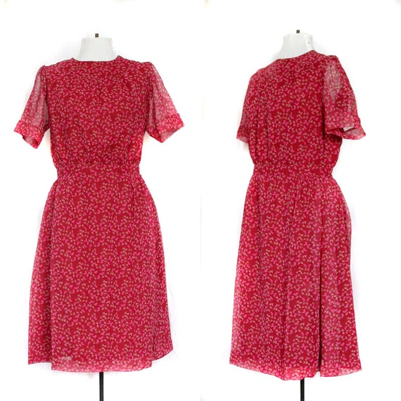 SALE Vintage Dress Red Floral Vintage Day Dress L
