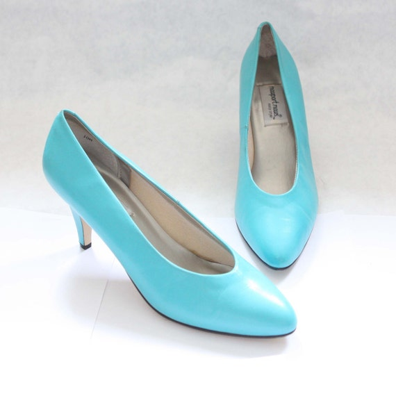 Turquoise 80s High Heels Pumps size 10