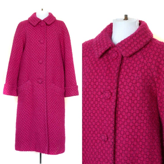 Coat Mod Vintage Bright Pink 60s 1960s Swing Coat Heavy Warm Winter Jacket M L XL