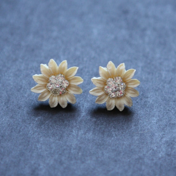 Earrings Vintage Carved Floral Studs with Rhinestones Off White Ivory Creme