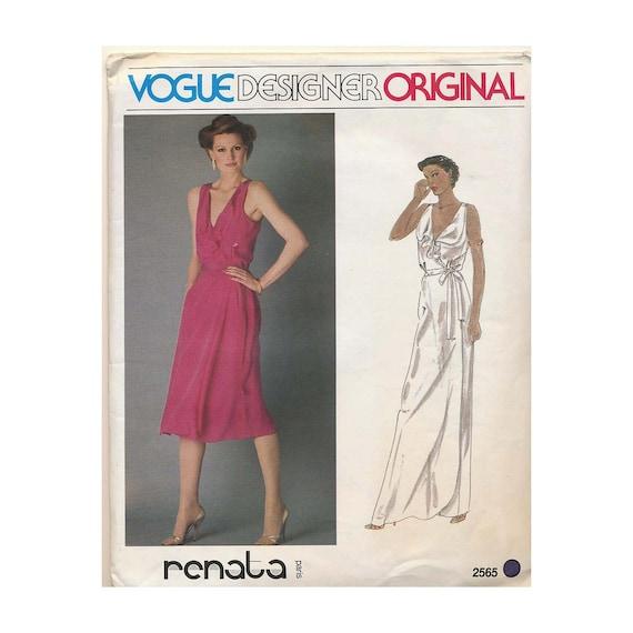 RENATA Vintage Dress Sewing Pattern Vogue Desinger Original size 12 Wrap Dress with Ruffle Vogue 2565