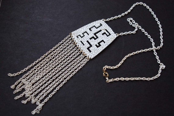Necklace Vintage Fringe 70s Fringed 1970s White Enamel Statement Necklace with Large Geometric Pendant