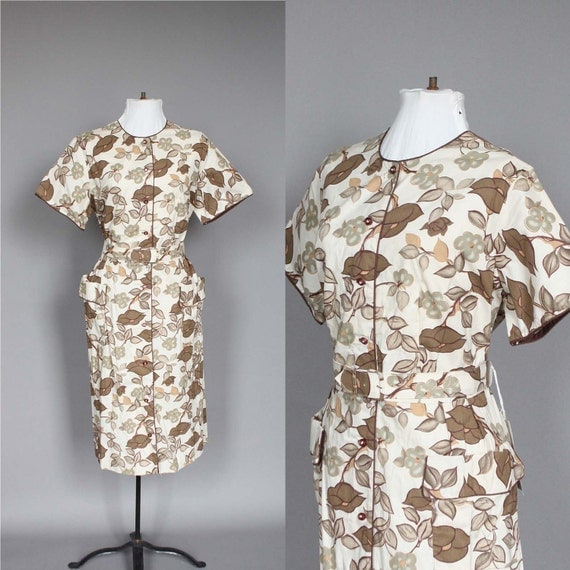 Dress 50s 60s Vintage Floral Day Dress XL Plus Size NWT Deadstock Brown Mad Men Shirtdress