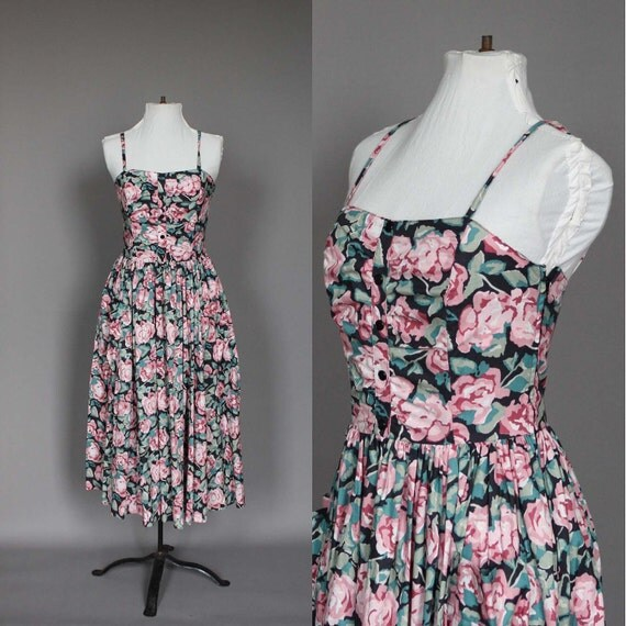 Dress 80s 50s Vintage 1980s does 1950s Laura Ashley Floral Flower Print Corset Top And Full Skirt XS S