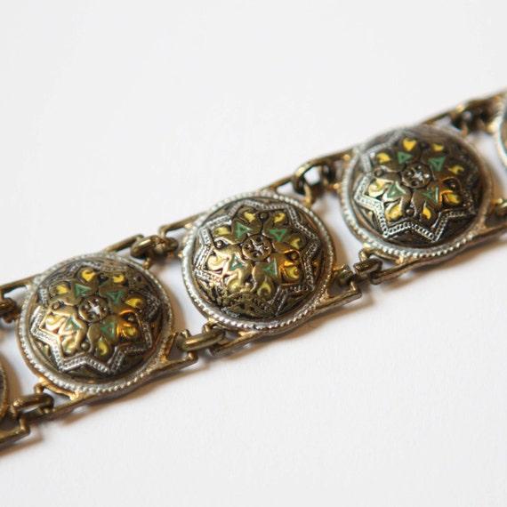 Bracelet Vintage Enamel on Antiqued Brass Domed Metal Link Suite Bracelet