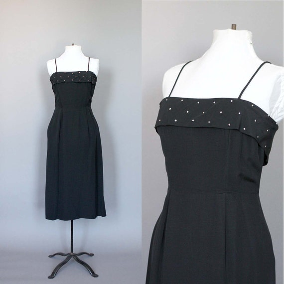 Dress 50s 60s Vintage Black Cocktail Party Dress with Rhinestones 1950s 1960s LBD Wiggle S