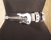 Black and White Rock and Roll Belt Guitar Buckle Extra Large