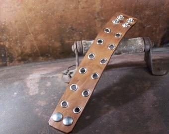 Steampunk  Leather Cuff Rustic Brown