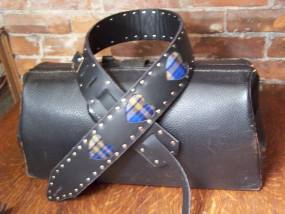 Leather and Plaid hearts Guitar Strap Girls Rock