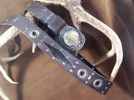 Handsome Brown  with Black Snakeskin Leather Belt on Vintage Agate Buckle 40 - 46 inches