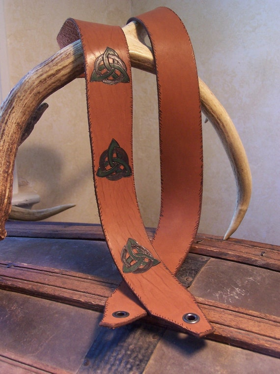 Celtic Design on Tan Leather Mandolin Strap