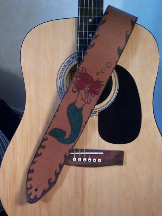 mermaid leather cool guitar strap old school tattoo flash. Black Bedroom Furniture Sets. Home Design Ideas