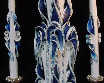 Unity Set Ribbon Candles Blue Large