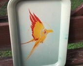 Shabby Chic Vintage Metal Serving Tray - Parrot-dise