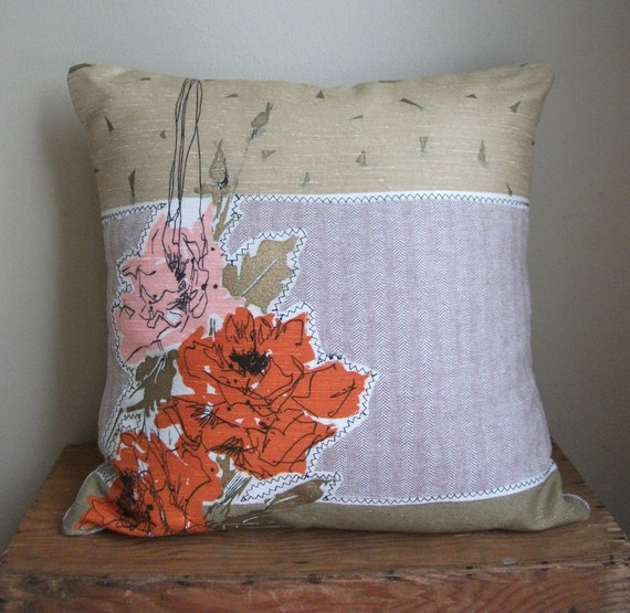 Handmade Vintage Fabric Appliqued Throw Pillow by theuniquebird