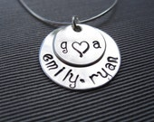 With Love Necklace- Sterling Silver, Hand Stamped and Personalized