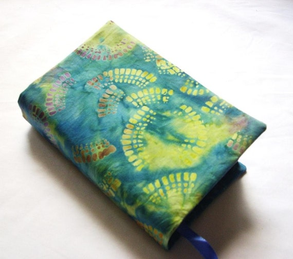 Reusable Fabric Book Cover ~ Cloth book cover ruffles batik and hand dyed fabric fits