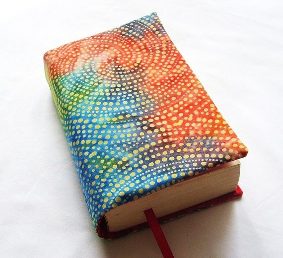 Book Cover Material Yoga : Cloth book cover bright batik and hand dyed fabric fits most