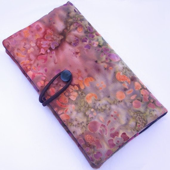 Checkbook cover with button and loop, Moss and Lichen, Pink and Moss Green flowers and hand dyed fabric, for duplicate checks.