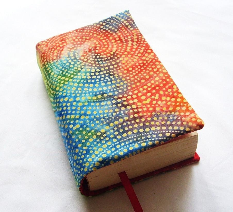 Book Cover Material : Cloth book cover bright batik and hand dyed fabric fits most