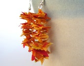 FEATHER LYRICS -Mango- reclaimed fiber earrings-