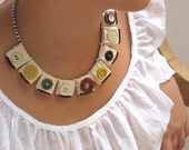 Fiber and buttons origami necklace -Granny's private collection