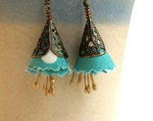 Flower fabric earrings in turquoise polka dot printed cotton