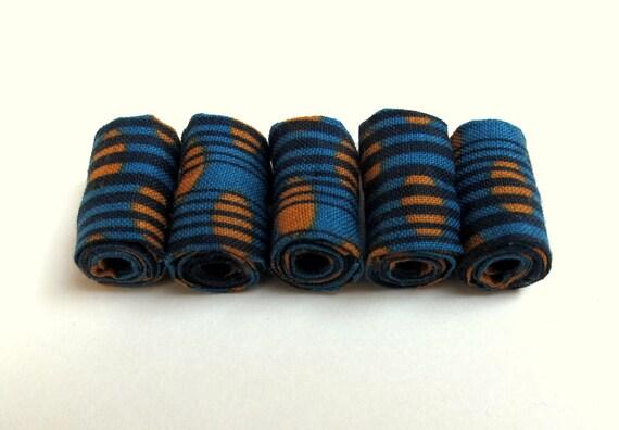 Handmade patchwork fiber beads in Caribbean green