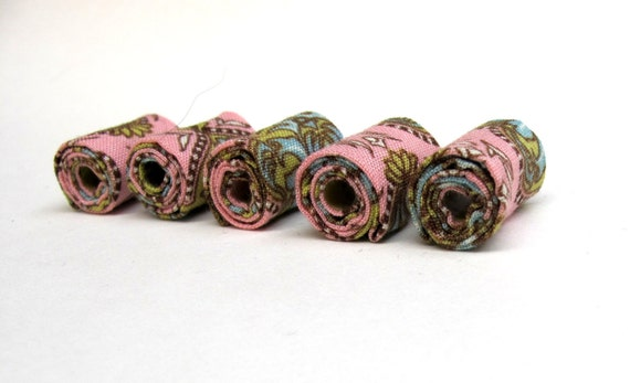 Hand rolled fiber beads in old rose fantasy  printed cotton