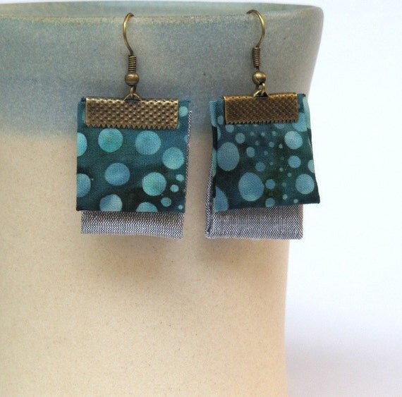 Double layered hand folded fabric earrings- Silver moon