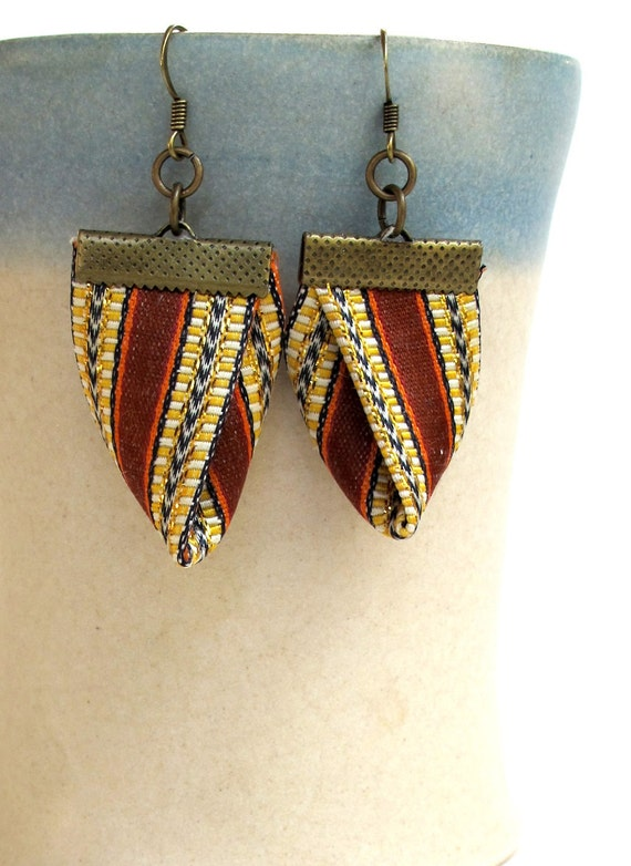 Origami fabric dangles in brown and gold Damask