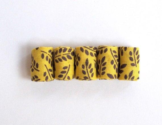 Designer handmade fabric beads in wheat yellow printed cotton