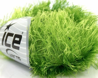 Lime Green Long Eyelash Yarn Ice Bright Green Fun Fur 22786