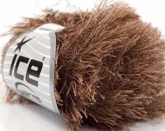 Cocoa Long Eyelash Yarn Brown Fun Fur Ice 22753 Cafe au Lait Faux Fur Yarn for Scarves, Fur Trim, Wreaths, Plush Toys, Wrapping 50 Gram