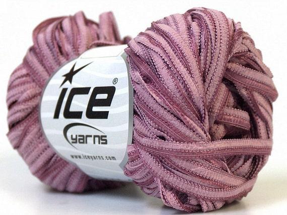 Faded Mauve Pink Ice Sheer Center Ribbon Shine Yarn 76Yards 22946