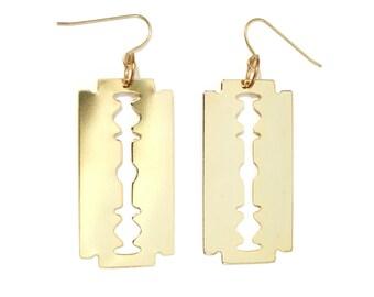 Gold Razor Blade Earrings