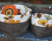 Fabric storage boxes - Recycled antique hemp and ultimate 70s vintage fabric